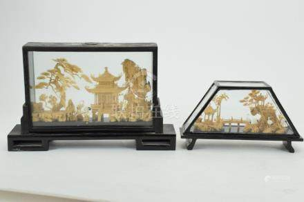 2 CHINESE GLASS ENCLOSED BAMBOO CARVINGS