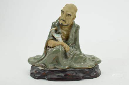 CHINESE PORCELAIN SEATED LOHAN W/ JUI SCEPTER