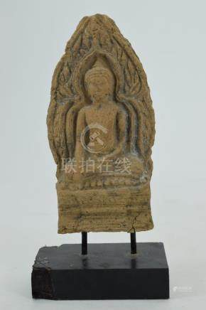 16TH C. THAI TERA COTTA SEATED BUDDHA PLAQUE