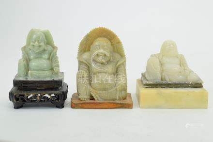 3 SEATED BUDDHAS (SOAP STONE & MARBLE)