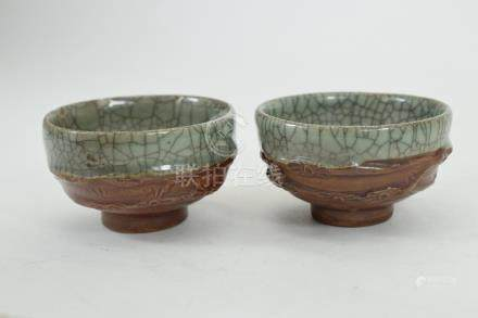 JAPANESE CELADON SAKI CUPS CRABS w CLAW CRACKLE