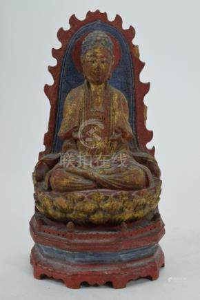 WOODED SEATED CHINESE POLYCHROME BRONZE BUDDHA