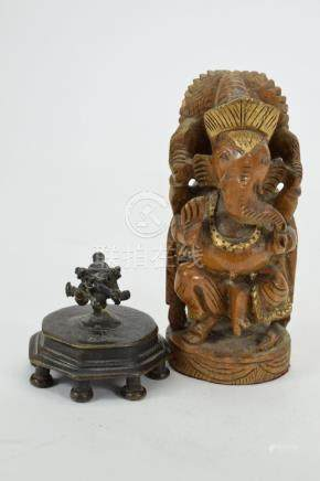 WOODEN GANESHA & SMALL BRONZE ABSTRACT GANESHA
