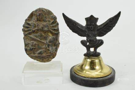 BRONZE INDIAN GARUDA & BRONZE BELT PLAQUE