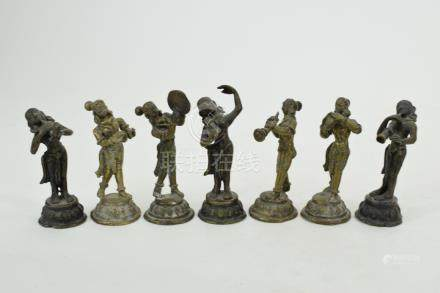 7 19TH C. BRONZE HINDU INDIAN COURT MUSICIANS