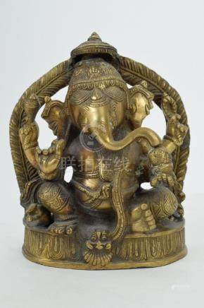 19TH C. LARGE BRONZE SEATED INDIAN GANESHA