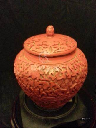Chinese carved cinnabar lacquered pot