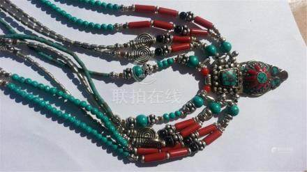 ANTIQUE Coral Turquoise Necklace.