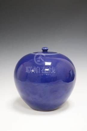 Qianlong Mark,A Blue Glazed Jar