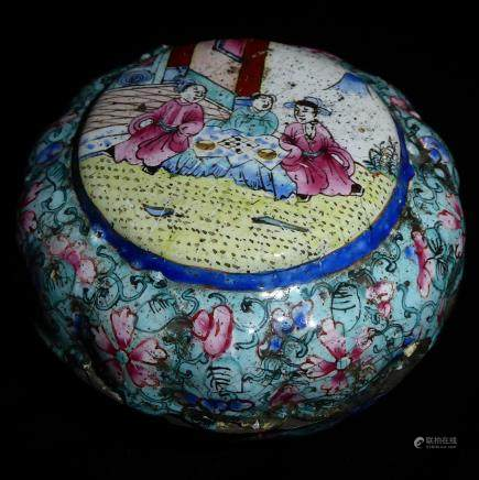 CANTON, A 19TH CENTURY CIRCULAR ENAMEL LIDDED POT The central panel hand painted with seated figures