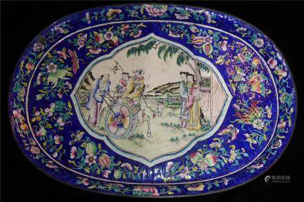 CANTON, A 19TH CENTURY ENAMEL OVAL TRAY The central cartouche hand painted with a travelling