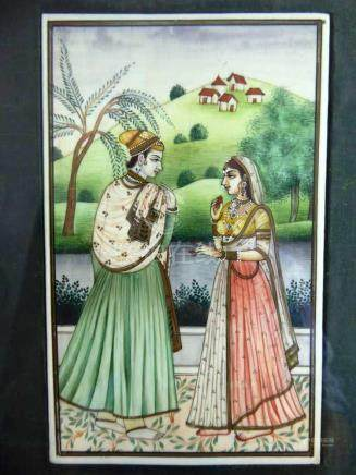 Miniatur, Indien um 1900, Gouache auf Elfenbein, stehendes Paar an Flusslandschaft, im Hintergrund