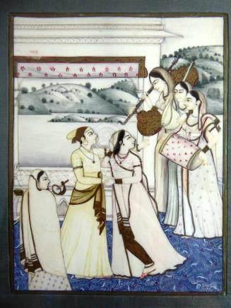 Miniatur, Indien um 1900, Gouache auf Elfenbein, Palastszene mit Frauen, ca. 15cm x 11,5cm, i.R.