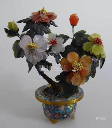 Feng Shui - Jadebaum in Cloisonne Schale, Blüter und Blätter aus Jade, Achat und Quarz, h. 18cm