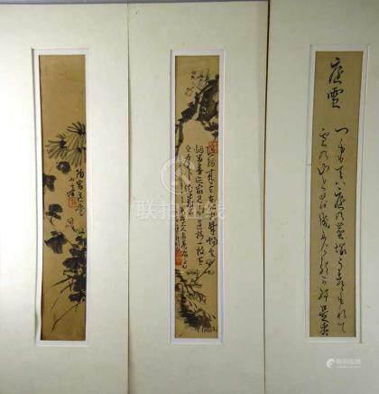 """3 Kalligraphien / Tuschezeichnungen, Waka (31silbiges Kurzgedicht von Koreshige """"Niwa-yuki"""") -"""