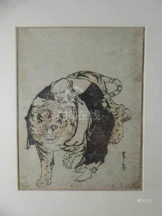 Holzschnitt, China um 1900, Gelehrter mit Tiger, i.R. 40cm x 30cm