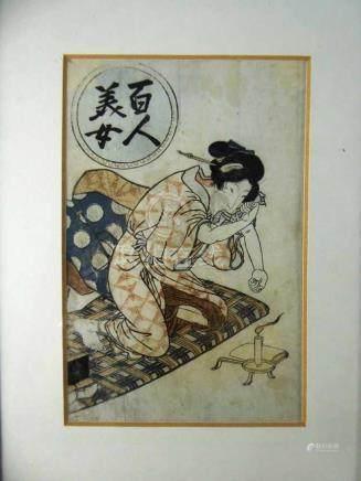 Farbholzschnitt, Japan 19.Jh., u.PP i.R., Ausschnitt 18,5cm x 12,5cm