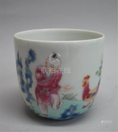 CHINESE PORCELAIN FAMILLE ROSE BOY PLAYING CUP