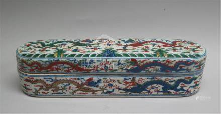 CHINESE PORCELAIN BLUE AND WHITE WUCAI DRAGON LONG BOX