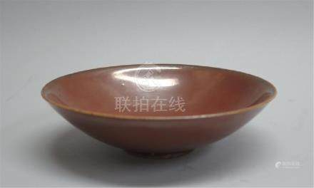 CHINESE PORCELAIN BROWN GLAZE BOWL