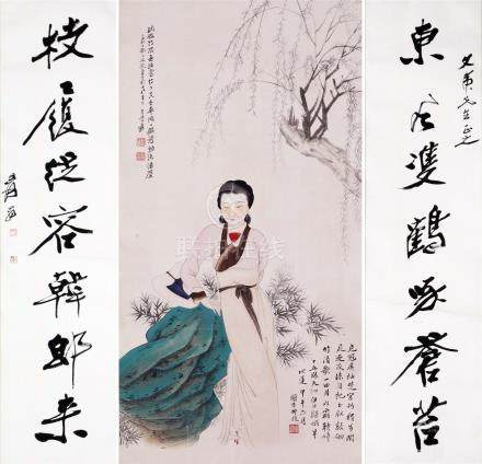 CHINESE SCROLL PAINTING OF BEAUTY UNDER WILLOW WITH CALLIGRAPHY CUPLET