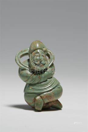 CHINESE TURQUOISE CARVED FIGURE LIAO JIN DYNASTY