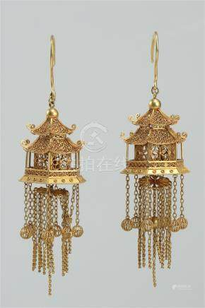 PAIR OF CHINESE PURE GOLD EARRINGS QING DYNASTY