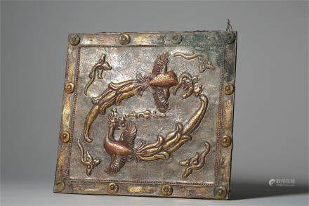 CHINESE BRONZE ENGRAVED PHOENIX SQUARE PLAQUE LIAO DYNASTY