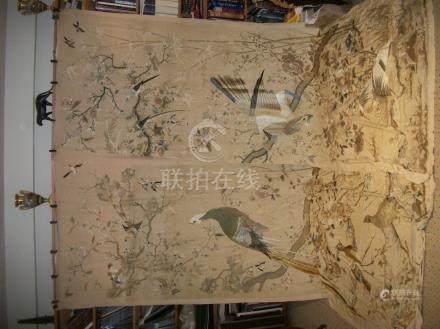 Paire de rideaux, Chine du sud, circa 1900, twill brodé polychrome d'oiseaux dans des branch