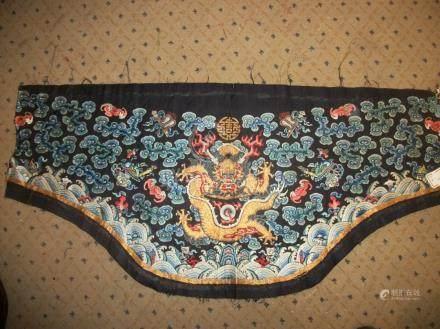 Plastron de robe, Chine, XVIIIème siècle, taffetas bleu, brodé en soie polychrome et fil d'o