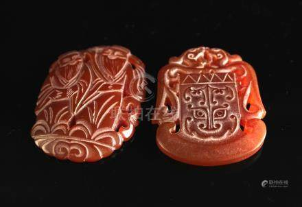 Two Agate Carved with Phoenix and God Pendant