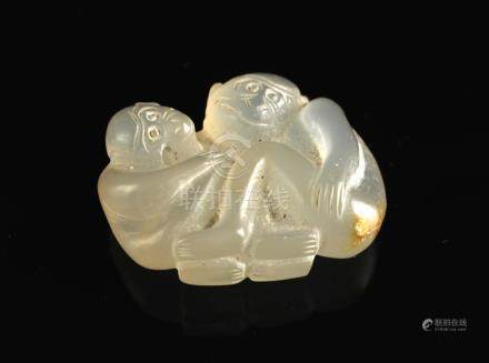 Agate Carved with Monkey Pendant