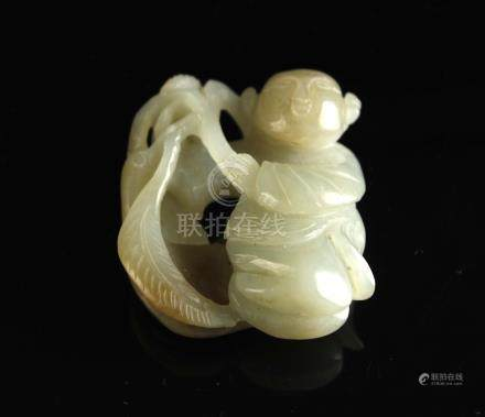 Jade Carved with Kid Pendant