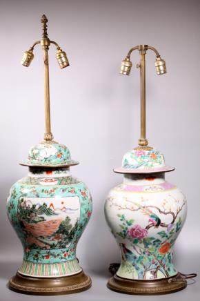 2 Chinese Qing Enameled Porcelain Temple Jars
