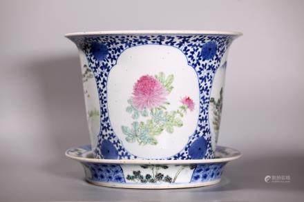 Chinese B & W & Enameled Porcelain Planter & Tray