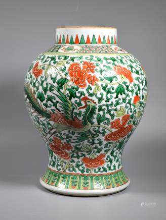 Lg Chinese Qing Famille Verte Porcelain Vase