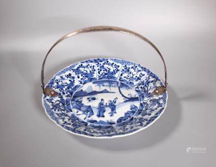 Chinese Kangxi B & W Porcelain & Sterling Plate