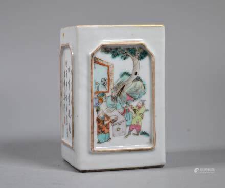 Chinese 19 C Enameled Porcelain 4-Sided Brush Pot