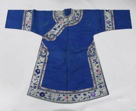 Chinese Late Qing Silk Embroidered Robe