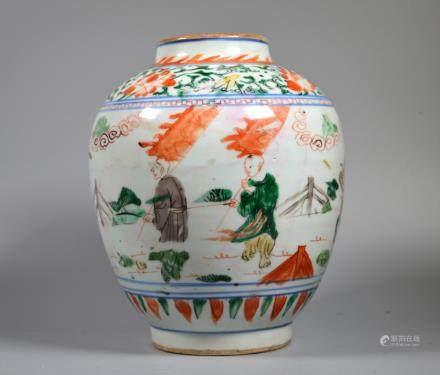 Chinese Ming Dynasty circa 1600 Wucai Figural Vase
