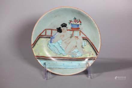 Chinese Qing Celadon Porcelain Erotic Plate