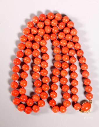 Fine Rich Coral Bead Necklace 18K Closure; 66.5G