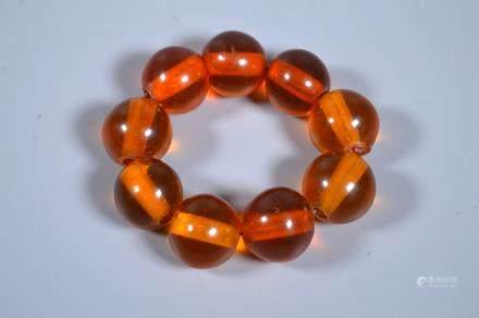 Large Round Amber 9 Bead Bracelet; 59.4G