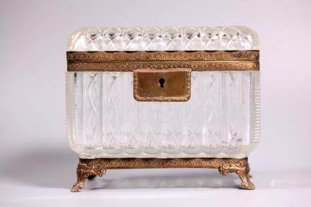 French 19 C Baccarat Style Cut Glass Jewel Case