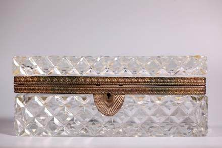French Baccarat Style Cut Glass Hinged Jewel Box