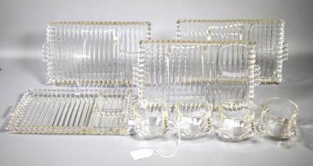 4 Sets Vintage Glass 3-part Sandwich Trays & Cups