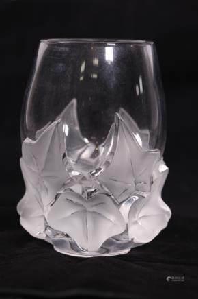 Lalique France; Clear Crystal 1980 Hedera Ivy Vase