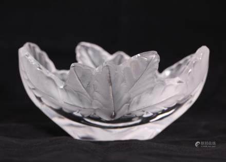 Lalique France; Crystal Compiegne Leaf Edge Bowl