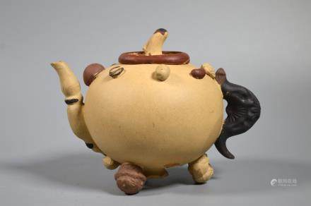 Chinese Light Yixing Teapot; Applied Nuts & Seeds
