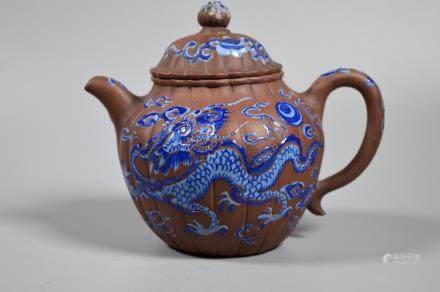 Chinese 18/19 C Yixing Blue Enameled Dragon Teapot